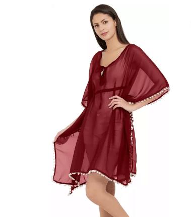 Mirchi Fashion Solid Poly Georgette Women Kaftan