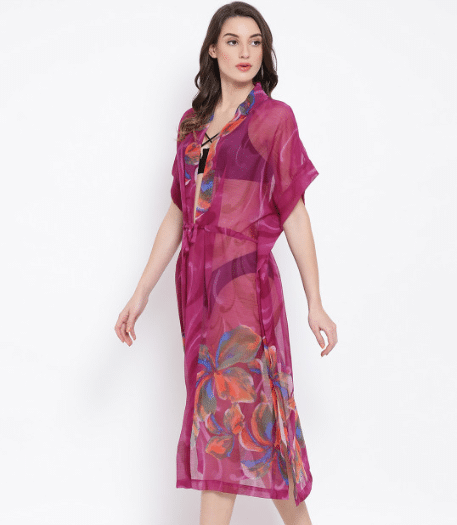 Oxolloxo Women Magenta Printed Cover-Up Dress S20087WBW002
